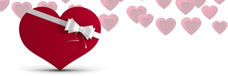 Digital composite of Valentines heart shaped gift box and love hearts background