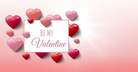 Digital composite of Be my Valentine text and Bubbly Valentines hearts with empty box