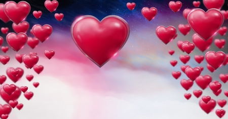 Digital composite of Shiny bubbly Valentines hearts with purple space universe misty background