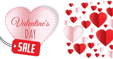 Digital composite of Sale for Valentines Day text and Paper Valentines hearts