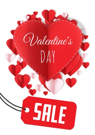 Digital composite of Sale for Valentines Day text and Paper Valentines hearts in circle shape