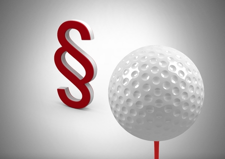 Digital composite of 3D Section symbol icon and golf ball Stock Photo