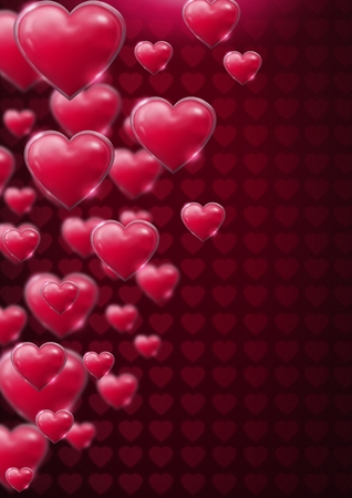 Digital composite of Shiny bubbly Valentines hearts