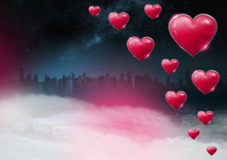 Digital composite of Shiny bubbly Valentines hearts with city misty background
