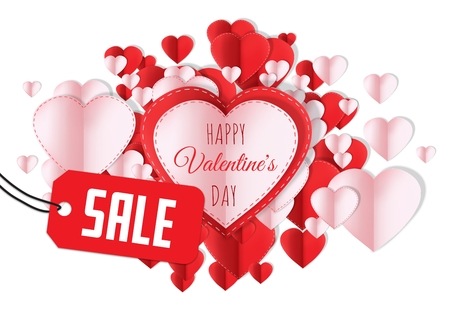 Digital composite of Sale for Happy Valentines Day text and Paper Valentines hearts