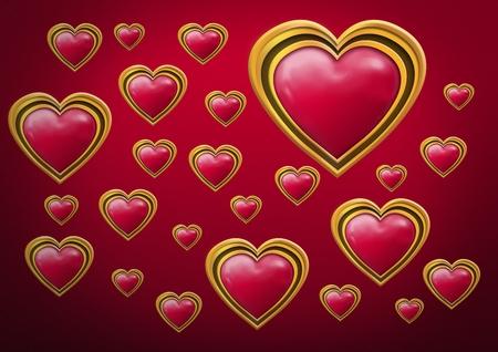 Digital composite of Shiny golden jewel Valentines hearts