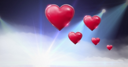 Digital composite of Shiny bubbly Valentines hearts with purple misty lights flares background