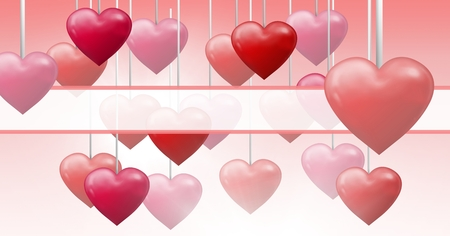 Digital composite of Bubbly Valentines hearts hanging on string with empty box