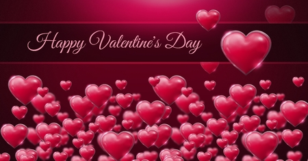 Digital composite of Happy Valentines Day text and Shiny bubbly Valentines hearts Stock Photo