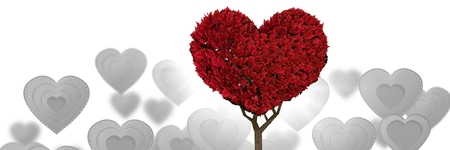 Digital composite of Valentines heart tree and love hearts background