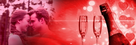 Digital composite of Couple with valentines love transition champagne glasses