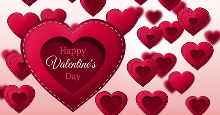 Digital composite of Happy Valentines Day text and Stitched Valentines Heart