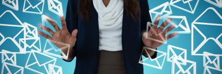 Mid section of businesswoman using interface screen against abstract blue background