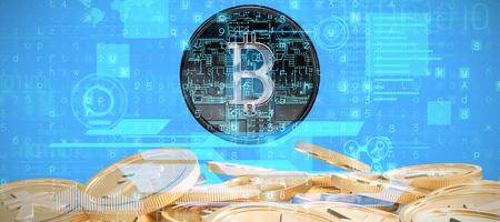 Virus background against bitcoins Stock Photo
