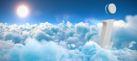 i information icon against scenic view of bright sun over white cloudscape Stock Photo