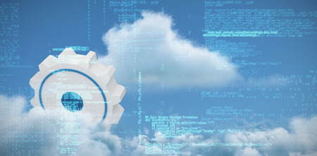 Blue data against scenic view of white cloud against sky