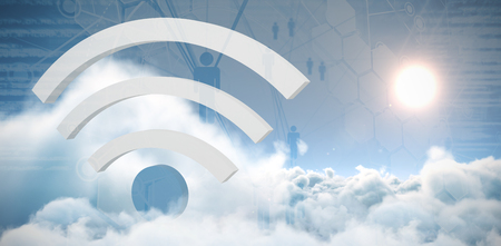 Wifi symbol against people icons and binary codes Stock Photo
