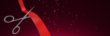 Digital composite of Scissors cutting ribbon with crimson background