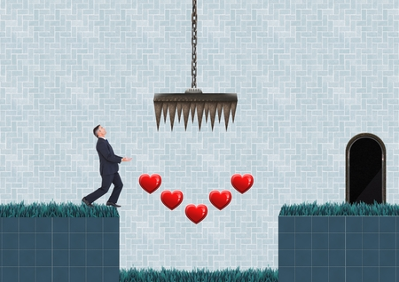 Digital composite of Businessman in Computer Game Level with hearts and traps
