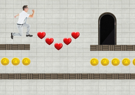 Digital composite of Man in Computer Game Level with hearts and coins Stock Photo