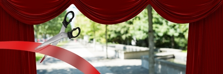 Digital composite of Scissors cutting ribbon with curtains and park Фото со стока