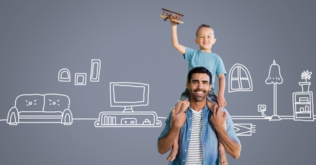 Digital composite of Father and son having fun playing with home drawings