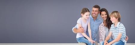 Digital-Zusammensetzung der Familie , die zusammen mit purpurrotem Hintergrund sitzen