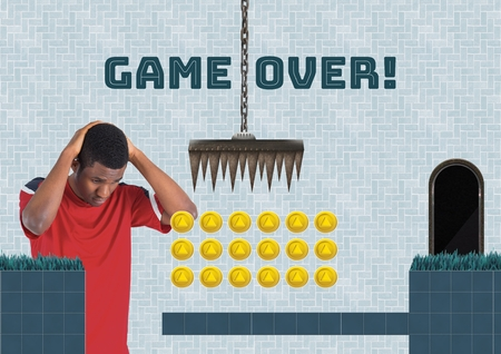 Digital composite of Game over and man in Computer Game Level with coins and traps