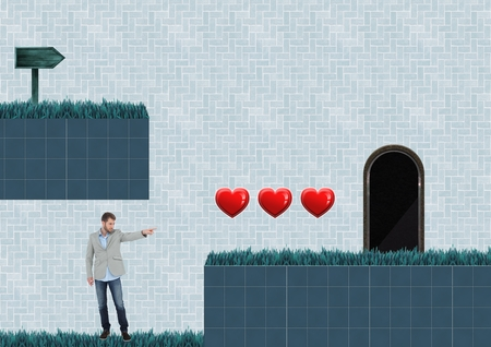 Digital composite of Man in Computer Game Level with hearts and trap Stok Fotoğraf