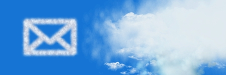 Digital composite of Email message Cloud Icon with sky Stock Photo