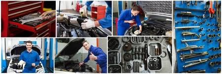 Digital composite of car repair collage Stock Photo