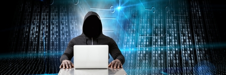 Digital composite of Anonymous hacker with computer code binary interface