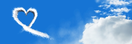 Digital composite of Heart Cloud Icon with sky