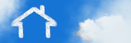 Digital composite of Home house Cloud Icon with sky