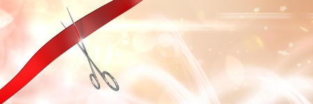 Digital composite of Scissors cutting ribbon with sparkling stars background