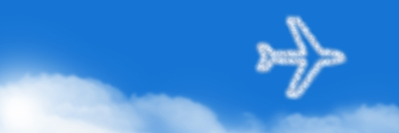 Digital composite of Plane flying Cloud Icon with sky Stock Photo