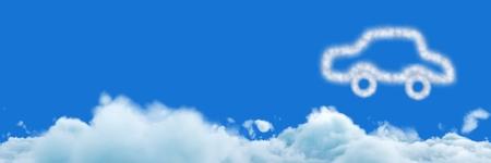하늘과 자동차 구름 아이콘의 디지털 합성