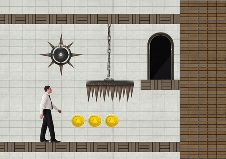 Digital composite of Businessman in Computer Game Level with traps and coins Stock Photo
