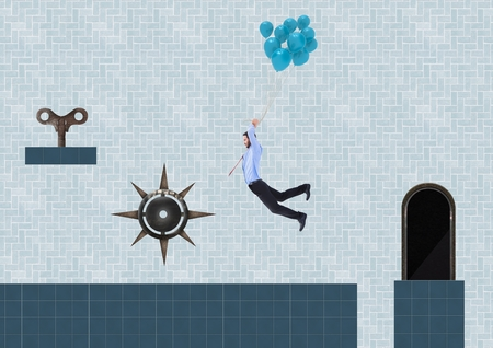 Digital composite of Businessman in Computer Game Level with key and trap Фото со стока