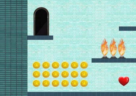 Digital composite of Computer Game Level with coins and heart