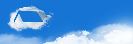 Digital composite of Home roof Cloud Icon with sky