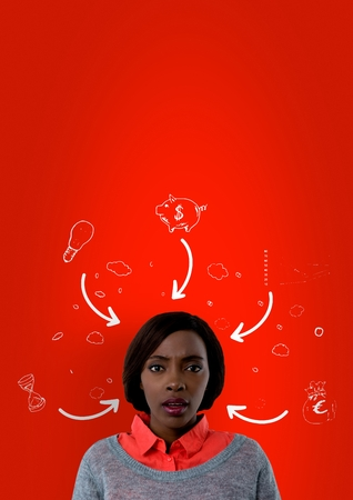 Digital composite of Confused woman with arrows pointing to her and drawings