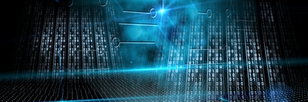 Digital composite of Code binary interface and dark background Stock Photo