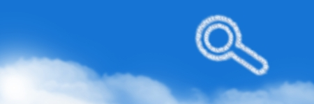 Digital composite of Magnifying glass Cloud Icon with sky Stock Photo