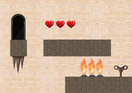 Digital composite of Computer Game Level with hearts key and traps Stock Photo