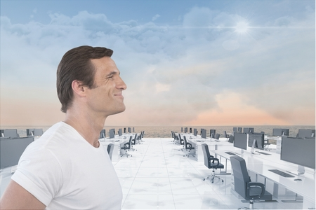 Digital composite of Man smiling on office on water Stock Photo