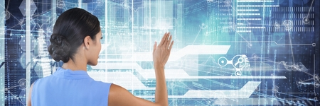 Digital composite of Woman clicks digital background interface