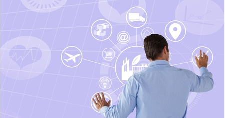 Digital composite of Man touching circle interface with purple background Stock Photo