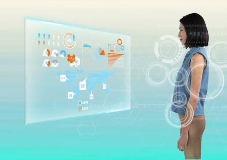 Digital composite of woman staring directly at interface