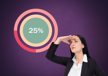 Digital composite of businesswoman looking with colorful chart statistics at 25 percent